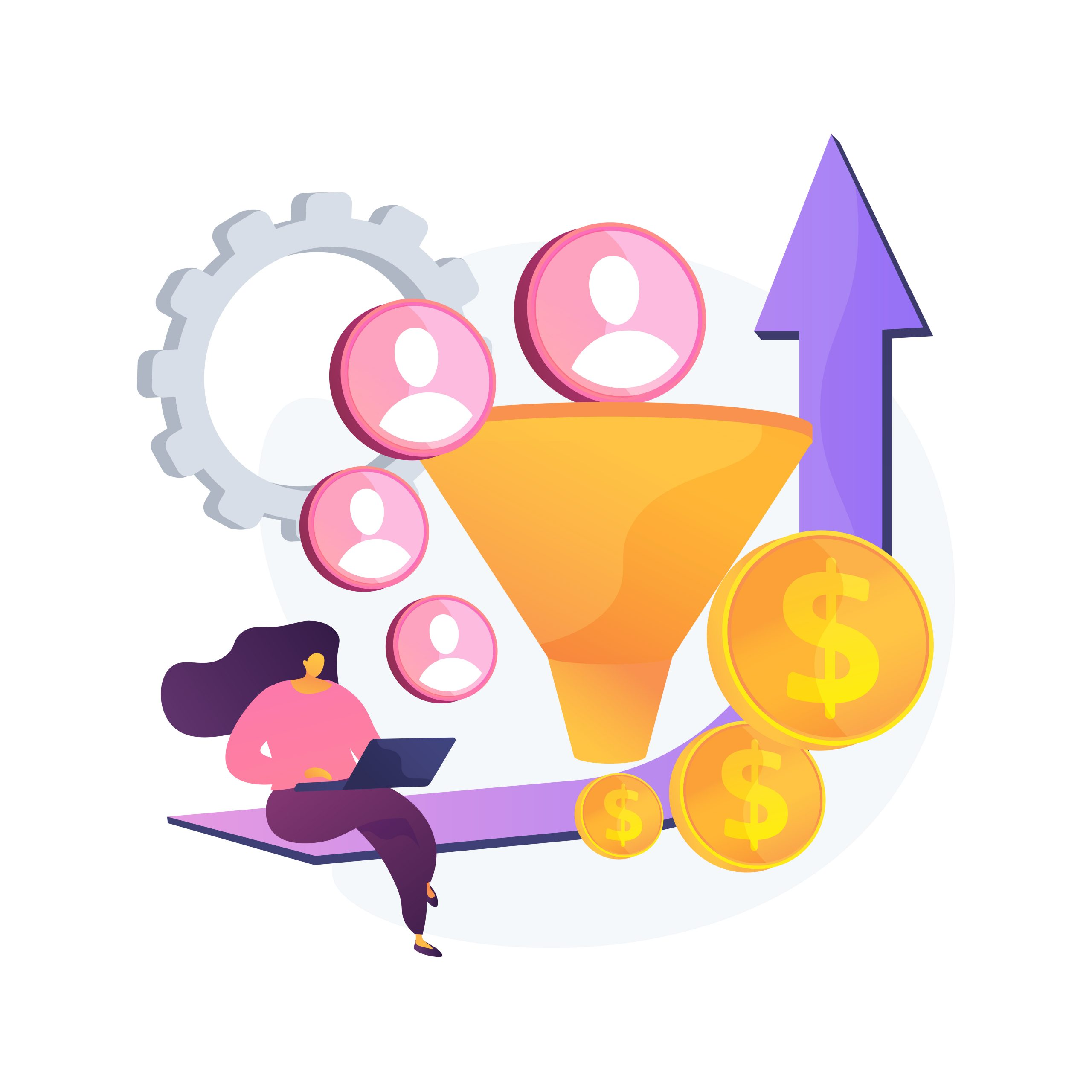 Conversion rate optimization abstract concept vector illustration.